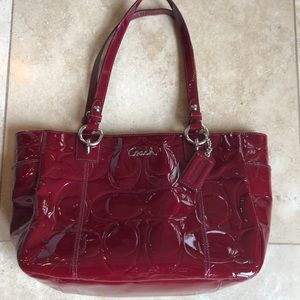 Coach deep red patent leather bag